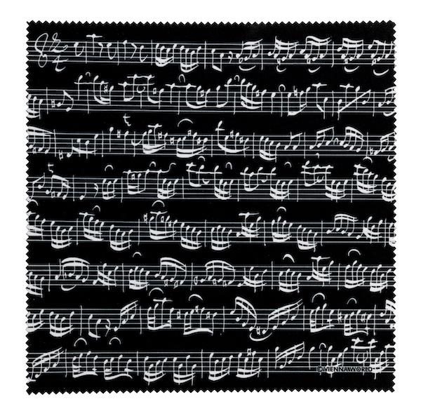 Brillenputztuch Notenblatt schwarz
