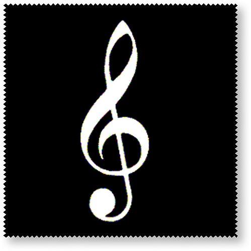 Brillenputztuch Violinschlüssel schwarz