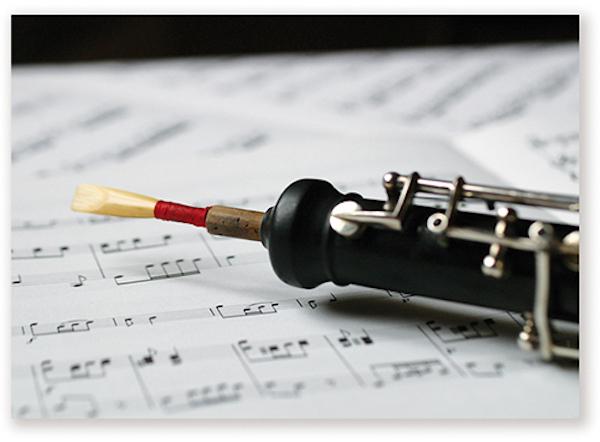 Postkarte Oboe/Notenblatt