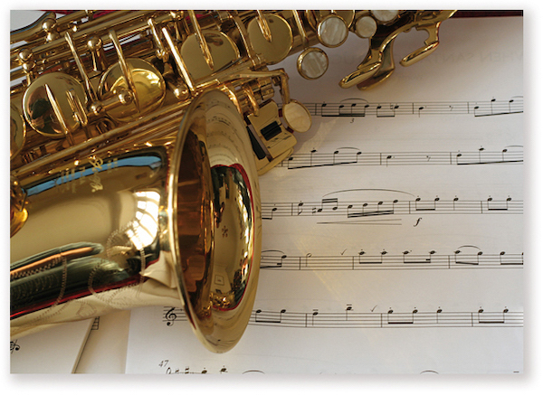 Postkarte Saxophon/Notenblatt