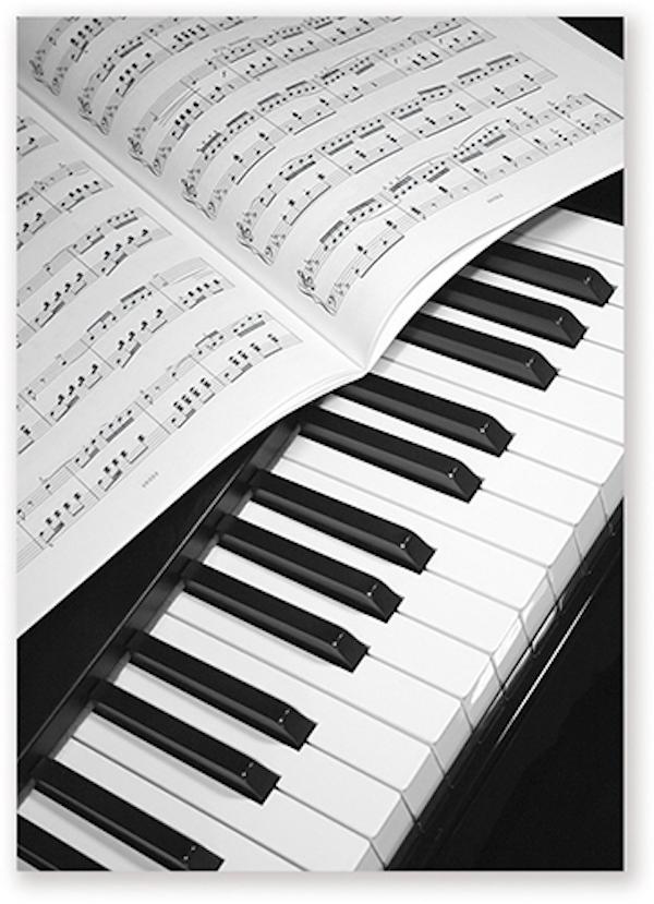 Postkarte Klavier/Notenblatt