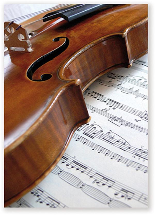 Postkarte Geige/Notenblatt
