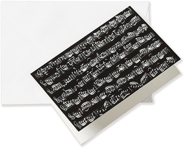 Grusskarte Notenblatt schwarz A6