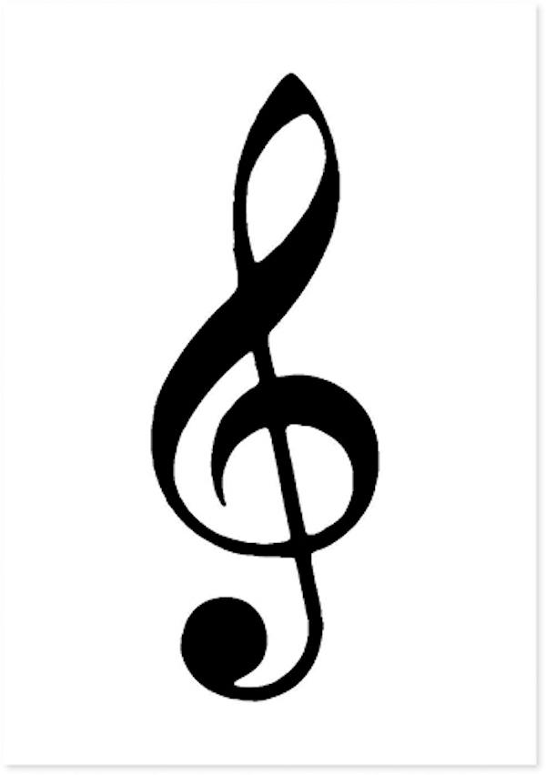 Postcard G-clef white