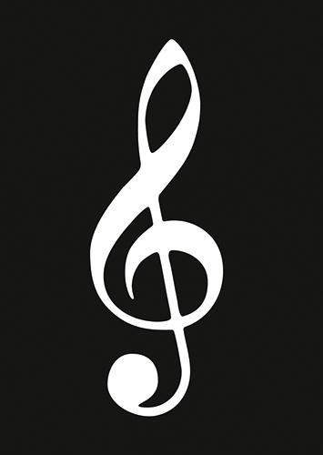 Postkarte Violinschlüssel schwarz