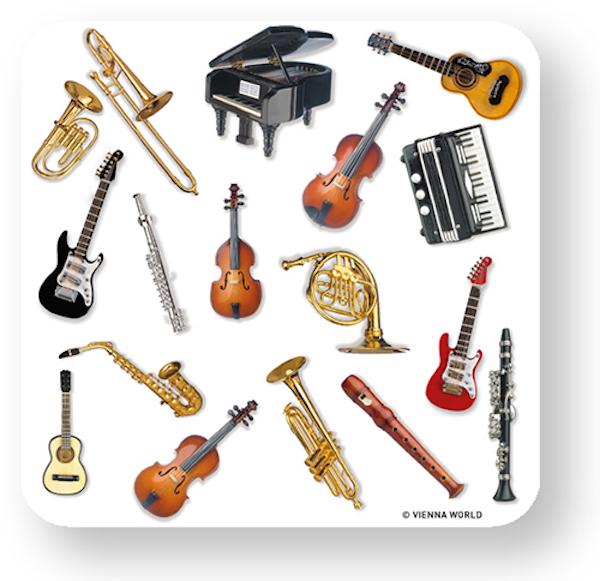 Glasuntersetzer Instrumente (4 Stk)