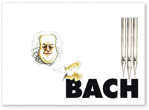 Postkarte Bach Karikatur