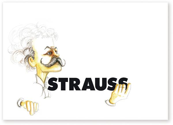 Postkarte Strauss Karikatur