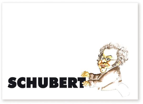 Postkarte Schubert Karikatur
