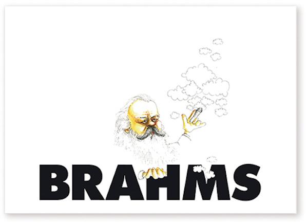 Postkarte Brahms Karikatur