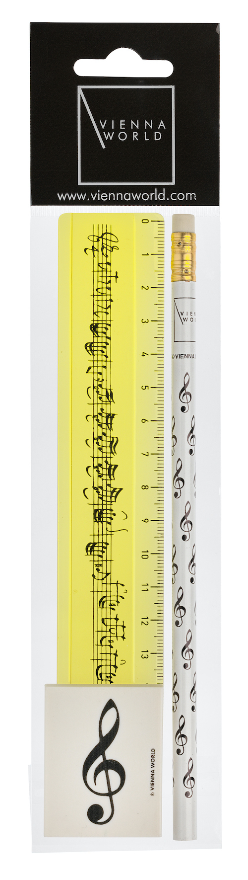 Schreibset Violinschlüssel gelb 3-tlg