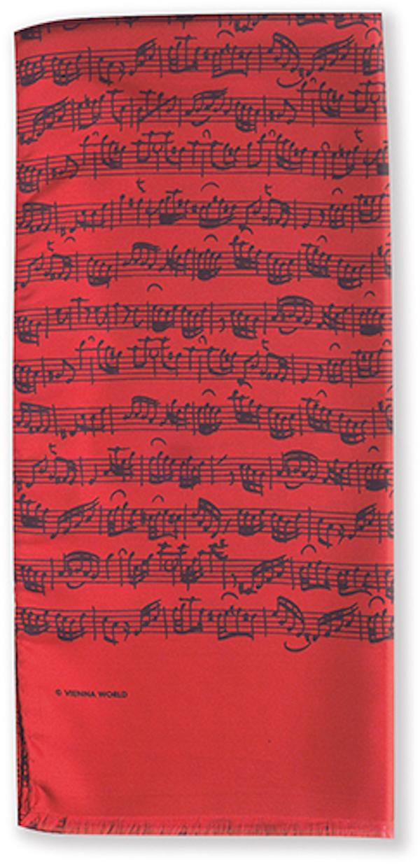 Seidenschal Notenblatt rot