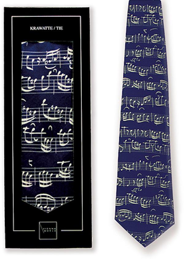 Krawatte Notenblatt blau