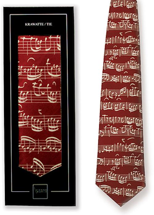 Krawatte Notenblatt rot