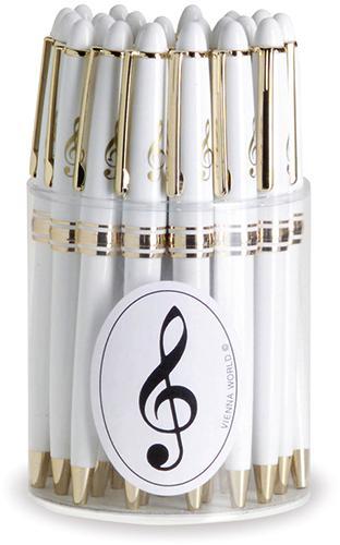 Kugelschreiberbox Violinschl. weiss/gold (24 Stk)