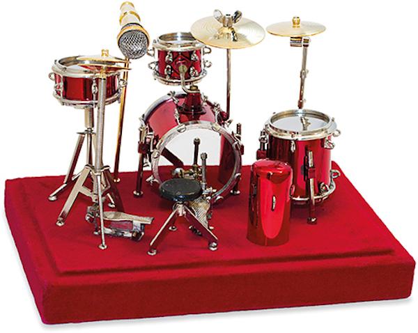 Miniatur Schlagzeug rot in Box