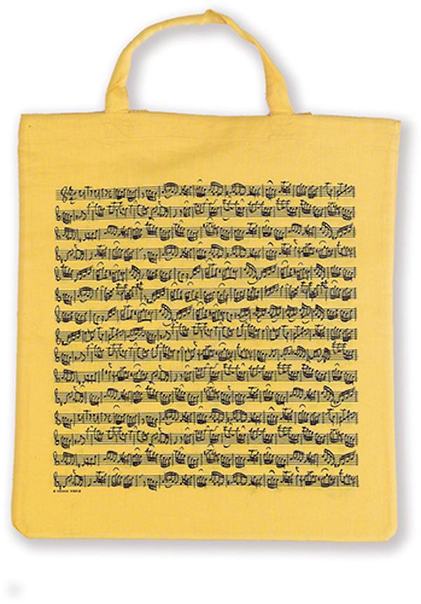 Tragtasche Notenblatt gelb