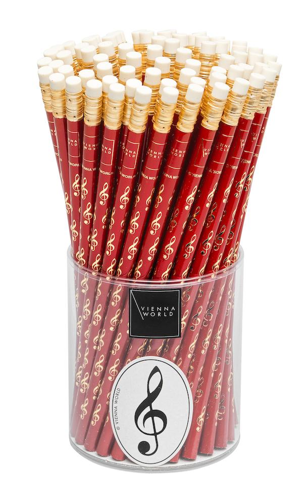 Bleistiftbox Violinschlüssel rot (72 Stk)