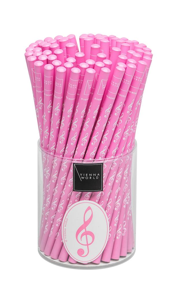 Bleistiftbox Violinschlüssel rosa (72 Stk)